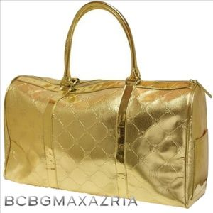 BCBGMaxAzria Metallic Gold Tote Overnight Bag NWT